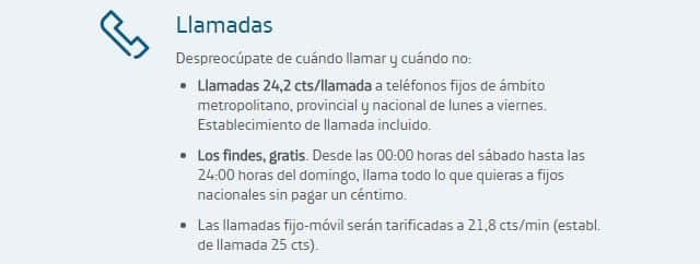 precio de las llamadas desde el teléfono fijo de Movistar